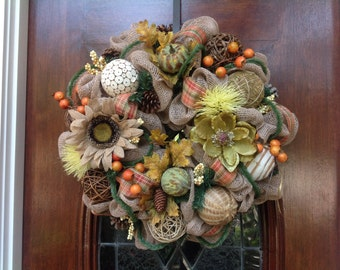 All Burlap Fall Wreath