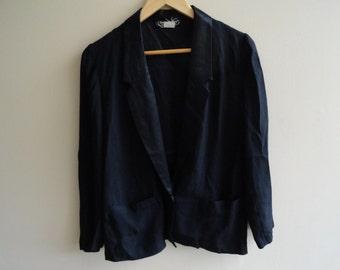 Black tuxedo blazer vintage 80s size xs s 2