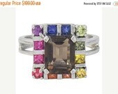 Valentines Day Sale Multicolor Rainbow Sapphire & Smoky Quartz Rubix Cube Ring 925 Sterling Silver : sku 1618-925
