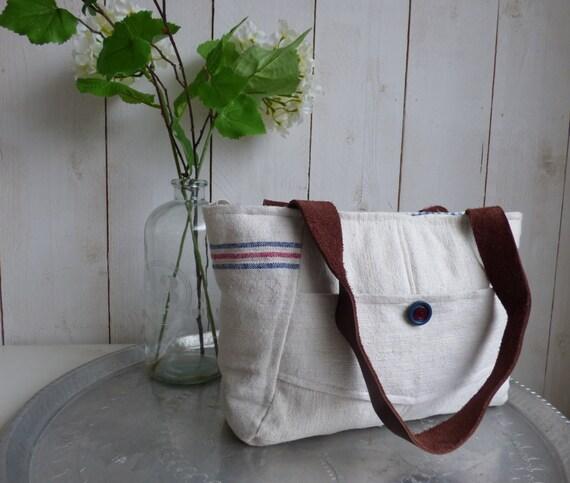 Antique linen tote bag / shoulder bag with leather straps