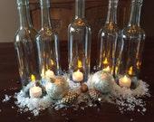 Wine Bottle Hurricane Candles- Set of 5 clear hand cut wine bottle hurricanes