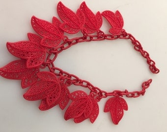 1930s Vintage, CELLULOID Necklace, Red LEAF Necklace,  Fringed Necklace, Openwork Leaves, Old Hollywood, Red Link Chain