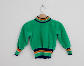 Vintage Kids Green Velour Shirt with Stripes / 1970s vintage / vintage kids clothing / vintage baby clothing
