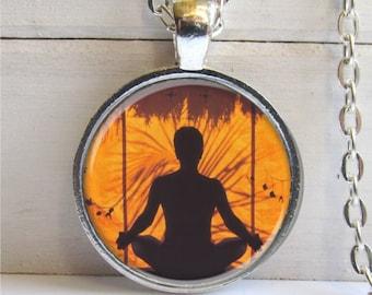 Yoga Pendant, Meditation Necklace, Yoga Jewelry