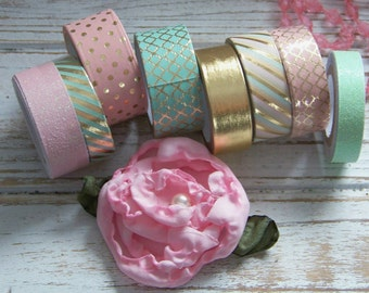 Washi and Glitter Tape Set, Pink Washi, Glitter Washi, Washi, Decorative Tape Set, Washi Tape Collection, Washi Tape Assortment, Tapes
