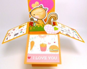 Love Pop Up Card, woodland animal, squirrel pop up