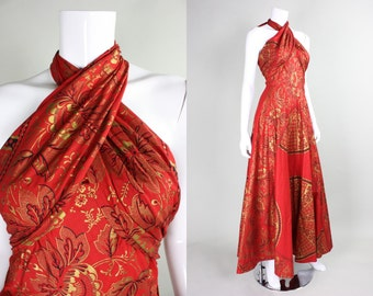 1970's Red Maxi Wrap Dress with Gold Screenprint