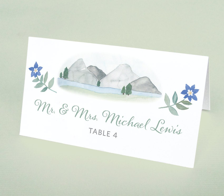 Mountain Wedding Place Cards, Watercolor Mountain Place Cards ...
