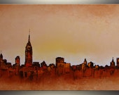 "ORIGINAL Painting, 36""x24"" New York City Skyline Palette knife painting ORIGINAL art abstract Painting oil painting by Tatjana, office decor"