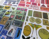 100s of VINTAGE EPHEMERA & LABELS Images in this Beautiful Paper Collage Sheet Collection! Rainbow of Colors!