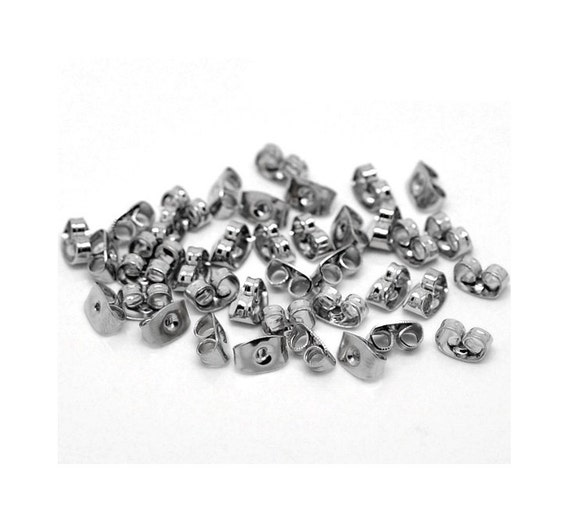 150 silver tone butterfly earring backs clutch replacements