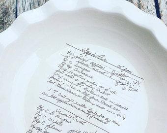 Custom recipe pie plate, pie plate, custom recipe display, handwriting plate, handwriting transfer, handwriting display, kitchen decor,