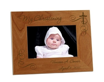 Engraved Christening Wooden Photo Frame