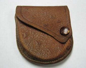 Vintage Leather Stitched  Ostrich Pocket Watch Coin Change Holder