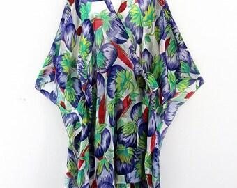 Designer Aubergines Silk Midlength Crossover Wrap pure Silk Chiffon Dress Kaftan by LaMolli Molly Kaftans