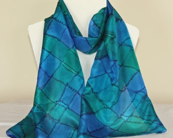 Hand Dyed Blue Green and Turquoise Long Silk Scarf