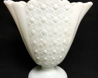 Fenton Milk Glass Vase, Daisy Button Pattern, Mid Century Fan Vase - 1950's