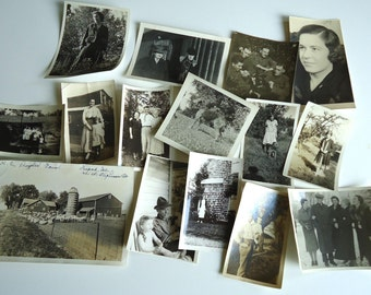15 Vintage Black and White Photographs Women Men Children Dog Farm 1920's to 1940's Originals Snapshots People Ephemera Antique