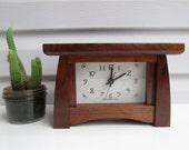 Mantel Clock, Repurposed Walnut Clock, Bungalow Clock, Craftsman Clock, Walnut Clock, Mantle Clock, Desk Clock
