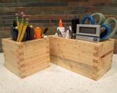 Desk Organizer, Pine Wood Box, Craft Box, Wedding Center Piece, Crayon Box, Pencil Box, Storage Box, Pine Box