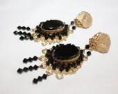 Vintage Miriam Haskell Earrings, Black Glass Filigree Drop Dangle Earrings  1940s Jewelry