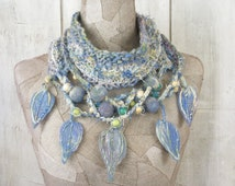 Blue necklace infinity scarf , boho hand knit loop , Art Hand Knitted wrap , knit , felt ,  Bohemian clothing -gypsy crochet shawl Cowl neck