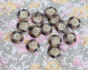 """25 Vintage 13/16"""" Plastic 4 Hole Buttons. Brown, Beige, Tan, Creme, Off White. Sew Through Buttons. Applique, Knitting Projects. Item 4002A"""