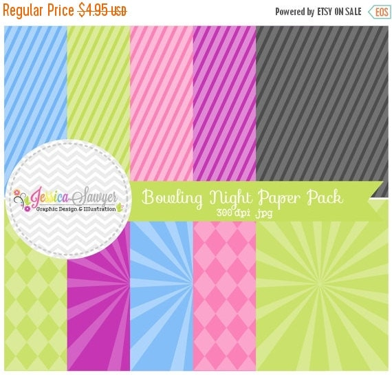 80% OFF - INSTANT DOWNLOAD,  bowling night digital paper pack - starburst background - card making - invitation - printable papers
