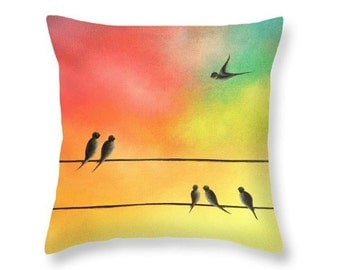 Bird Pillow, Colorful Birds Pastel Art Throw Pillow, Contemporary Home Decor, Family Birds on a Wire Art Cushion, Living Room Accent Pillow