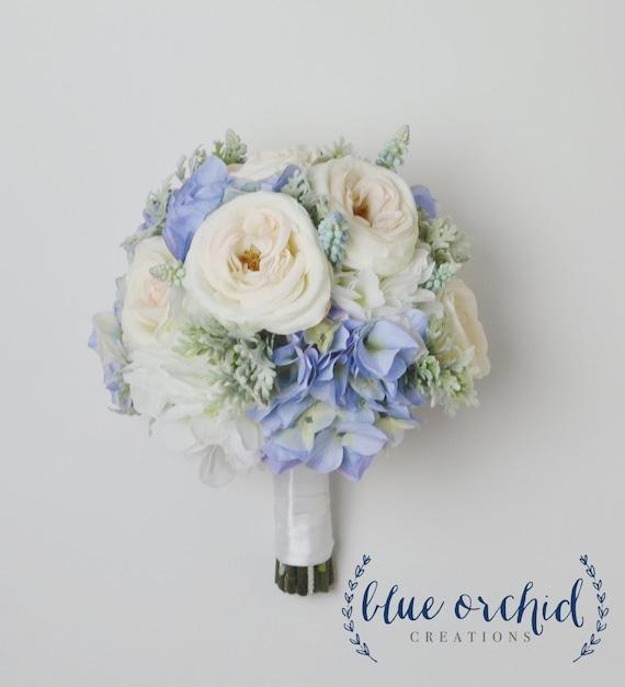 blue hydrangea bouquet with blush garden roses and dusty miller blue bouquet blue and blush wedding bouquet silk wedding bouquet