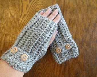 Crochet  Fingerless Gloves Heather Gray Texting Mitts Handwarmers Buttons