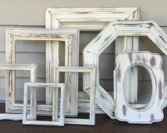 Distressed White Empty Frame Wall Gallery - Set of 7 Vintage Wood Open Frames - Rustic Shabby Chic Wall Frame Decor