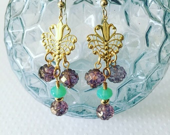 Drop earrings. Handmade jewelry. Chandelier earrings. Gold drop earrings. Peacock earrings. Blue and Purple Earrings. Boho style.