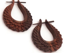 Wood hoop earrings - Zinia Hoop - small