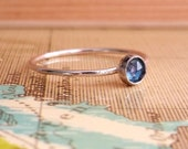 London Blue Quartz Ring, Sterling Silver Stacking Ring, Dainty Ring, Size 7