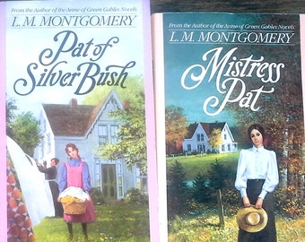 Lucy Maud Montgomery, set of two softcover books, Mistress Pat and Pat of Silver Bush, author of Anne of Green Gables