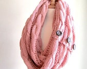 SALE Infinity Circle Loop Scarf Braided Cable Knit Neckwarmer Rose Pink Scarves with Buttons Women Girls Accessories