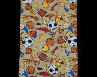Sports Score fabric featuring football, soccer, hockey and basketball