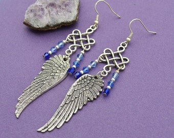 Archangel Earrings- blue glass beads silver tone wings boho victorian fantasy cosplay Hidden Treasury