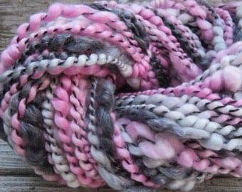 Handspun Yarn, Art Yarn, Bulky, Thick and Thin, 2 Ply, Coil Ply, Wool, Merino, Tencel, Plenty Good