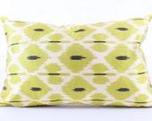 Green, Silk, Ikat Pillow Cover, Decorative, Throw, Pillow, Case, Cushion Cover Decor Modern Pillow Cover Zigzag Green Ikat Pillow