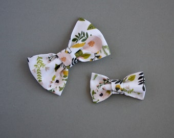 Pink Floral Fabric Bow Headband or Clip