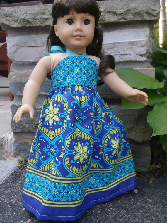 18 Inch American Girl Doll long halter maxie dress by Project Funway on Etsy.