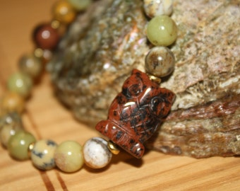 Carved Mahogany Obsidian Owl, Yellow Moss Agate Bracelet