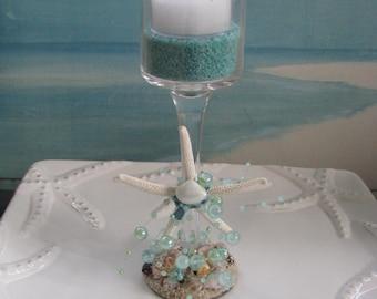 Starfish Seashell Sand Bubbles Candleholder
