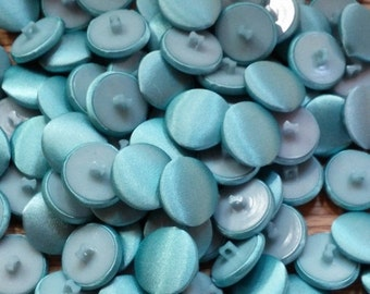 ON SALE 130 pretty blue vintage fabric and plastic buttons