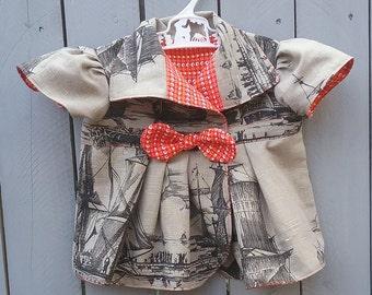 Handmade Girls Jacket | Tall Ships | Size 2T