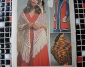 vintage 1970s simplicity crochet pattern 9743 misses vest and shawl size 8 to 18