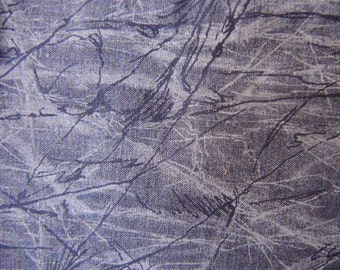 Vintage  1990s cotton fabric blue marbled batik print 45 inches wide BTY