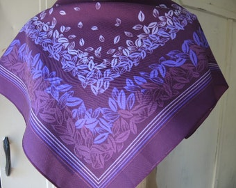 Vintage 1970s polyester scarf purple leaves  26 x 27 inches